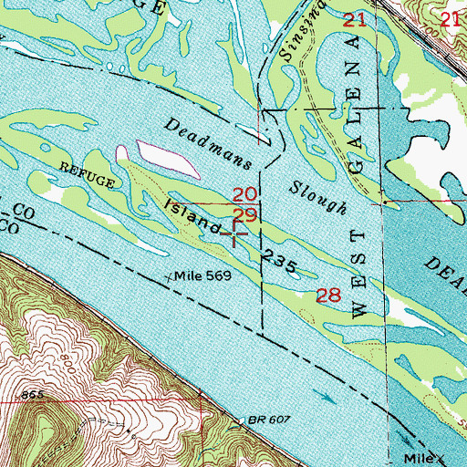 Topographic Map of Island 235, IL