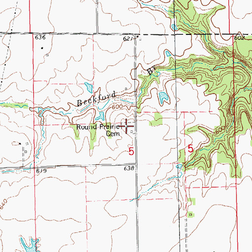 Topographic Map of Round Prairie Cemetery, IL