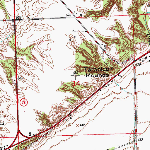 topographical maps of illinois. Topographic Map of Tampico