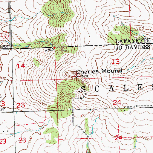 Topographic Map of Charles Mound, IL