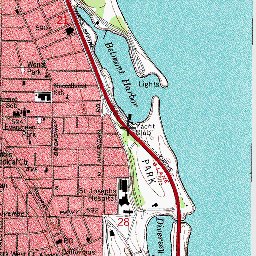 Topographic Map of Chicago Yacht Club, IL