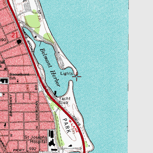 Topographic Map of Belmont Harbor Light, IL