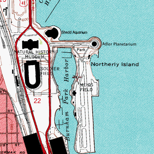 Topographic Map of Burnham Park Yacht Club, IL