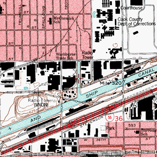 Topographic Map of Collater Channel, IL
