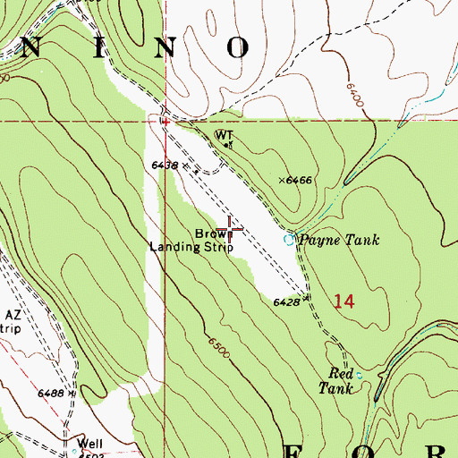 Topographic Map of Brown Landing Strip (historical), AZ