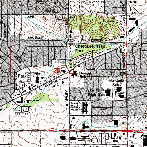 Topographic Map of Hoover Elementary School, IA