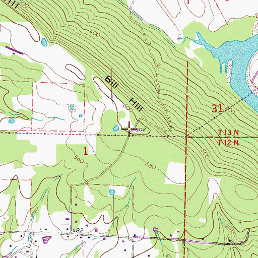 Topographic Map of Bill Hill, AR