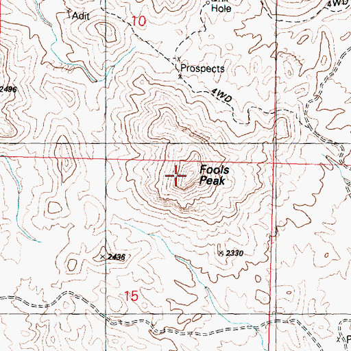 Topographic Map of Fools Peak, AZ