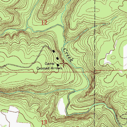 Topographic Map of Camp Crossed Arrows, AR