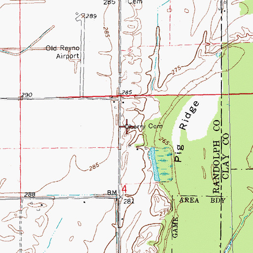 Topographic Map of Cherry Cemetery, AR