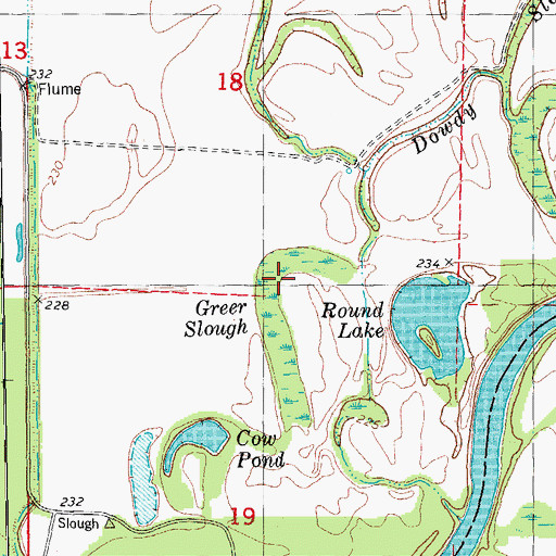 Topographic Map of Creek Slough, AR