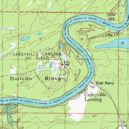 Topographic Map of Duncan Brake, AR