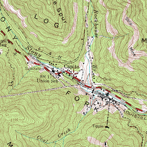 Topographic Map of Capito, KY