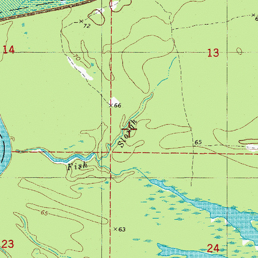 Topographic Map of Fish Slough, AR
