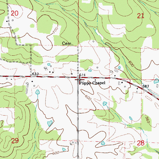 Topographic Map of Flippo Chapel, AR