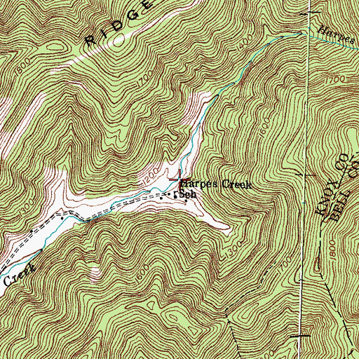 Topographic Map of Harpes Creek School, KY