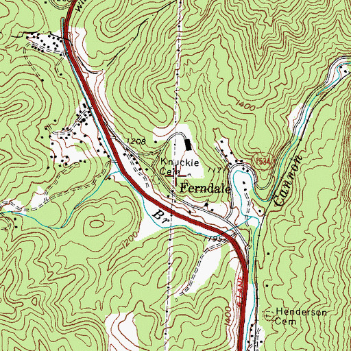 Topographic Map of Knuckle Cemetery, KY