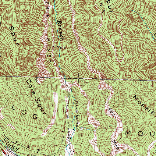 Topographic Map of Log Mountains, KY