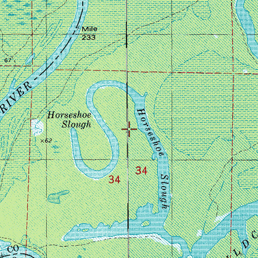 Topographic Map of Horseshoe Slough, AR