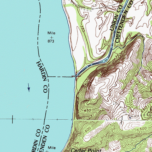 Topographic Map of Tradewater River, KY