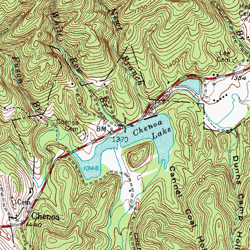 Topographic Map of White Row Branch, KY