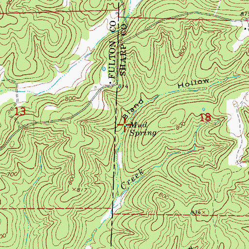 Topographic Map of Mud Spring, AR