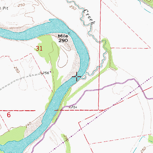 Topographic Map of Rutherford Creek, AR