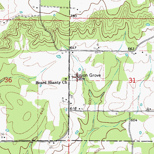 Topographic Map of Union Grove Cemetery, AR