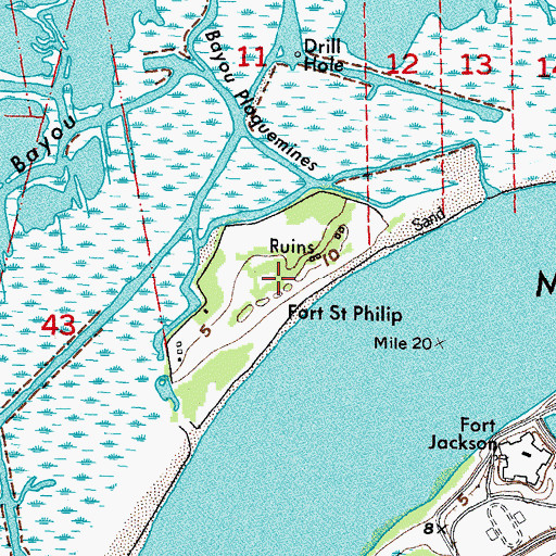 Topographic Map of Fort Saint Phillip, LA
