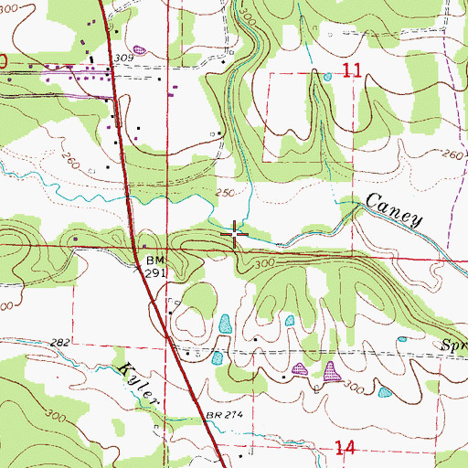 Topographic Map of Wycough Branch, AR