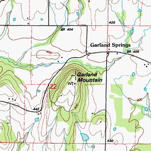 Topographic Map of Garland Mountain, AR