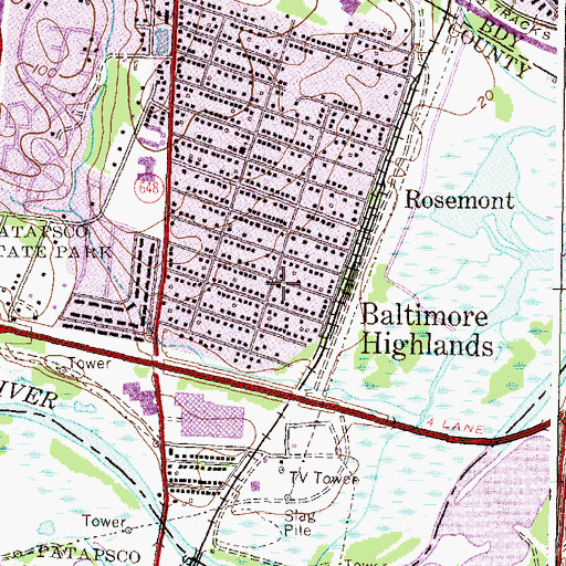 Topographic Map of Baltimore Highlands, MD
