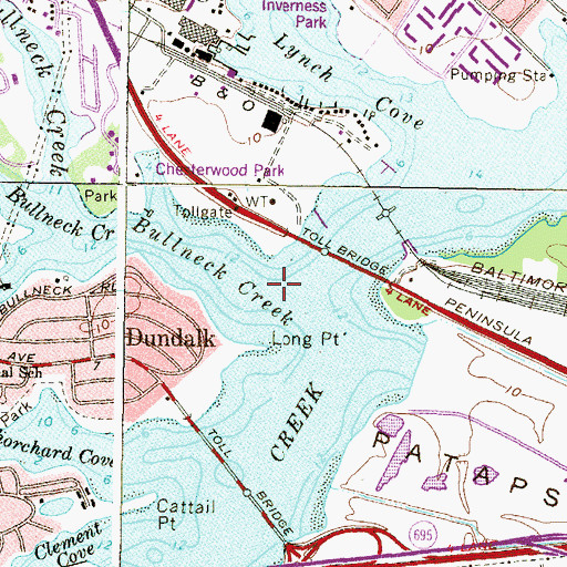 Topographic Map of Bullneck Creek, MD
