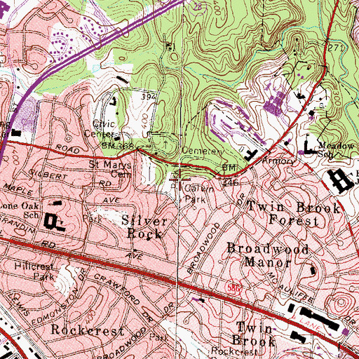 Topographic Map of Calvin Park, MD