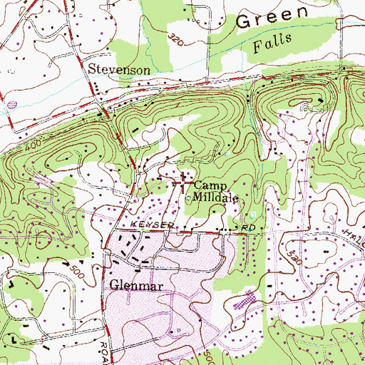 Topographic Map of Camp Milldale, MD