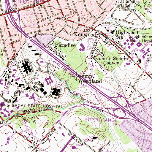 Topographic Map of Camp Woodland, MD