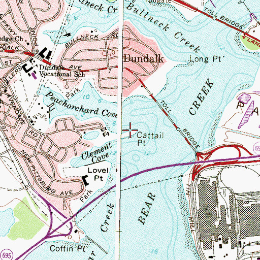 Topographic Map of Cattail Point, MD