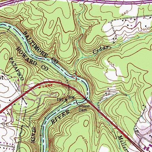 Topographic Map of Cedar Branch, MD