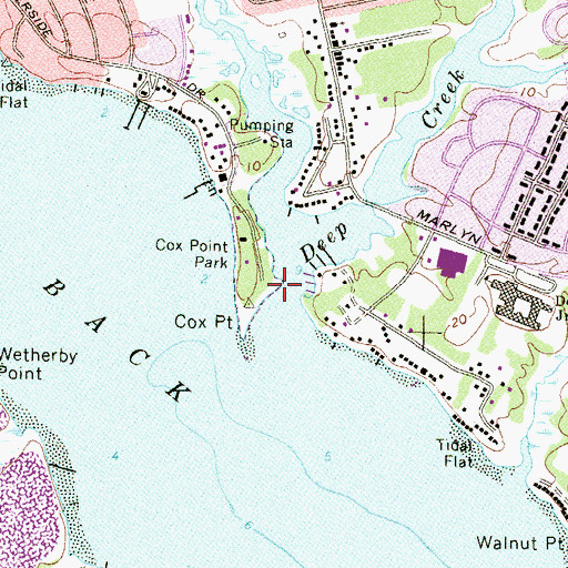 Topographic Map of Cox Point, MD
