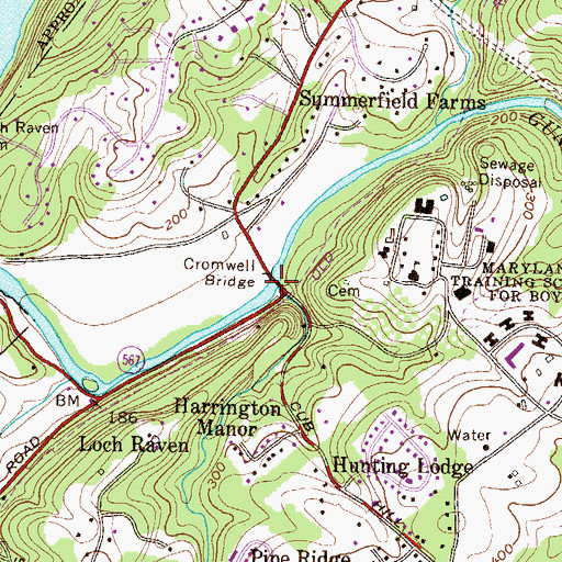Topographic Map of Cromwell Bridge, MD