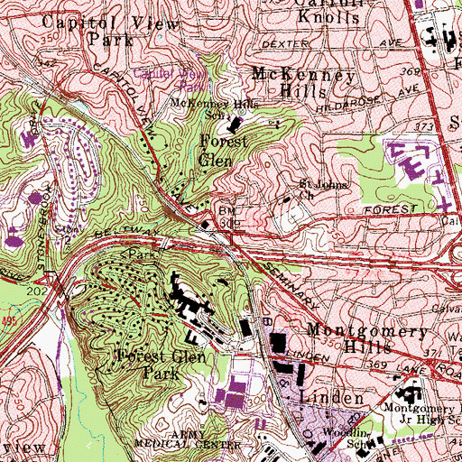 Topographic Map of Forest Glen, MD