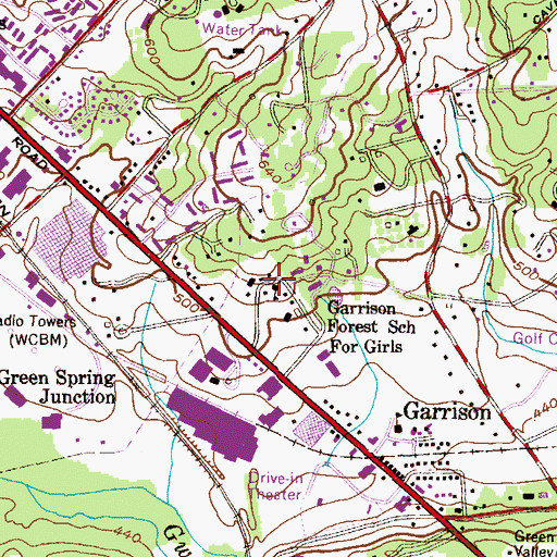 Topographic Map of Garrison Forest School for Girls, MD