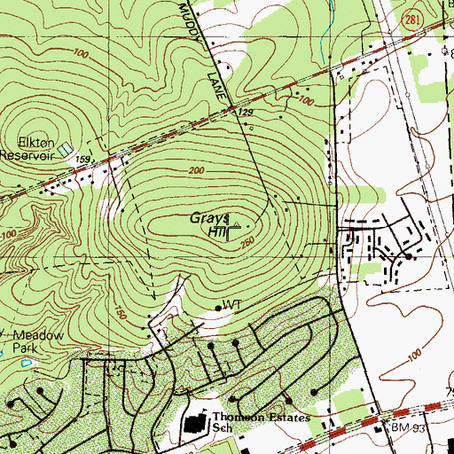 Topographic Map of Grays Hill, MD