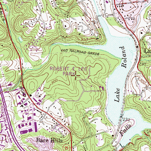 Topographic Map of Lake Roland Park, MD
