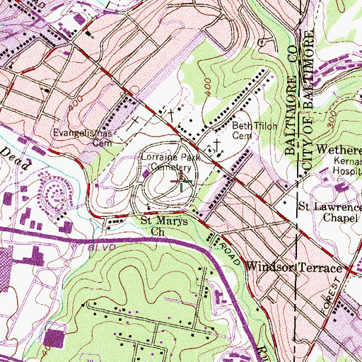 Topographic Map of Lorraine Park Cemetery, MD