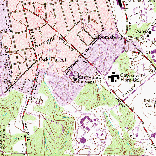 Topographic Map of Maryville Convent, MD