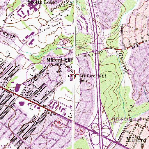 Topographic Map of Milford Mill Academy, MD