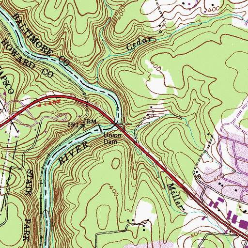 Topographic Map of Miller Run, MD