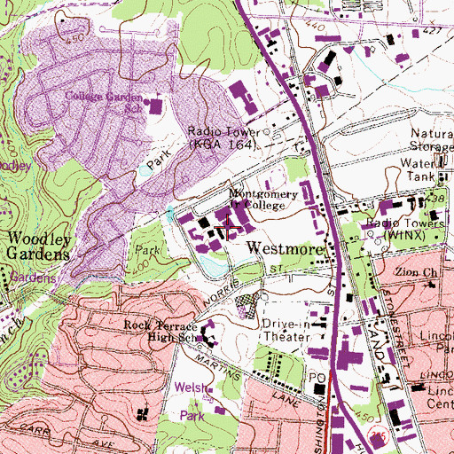 Topographic Map of Montgomery College, MD