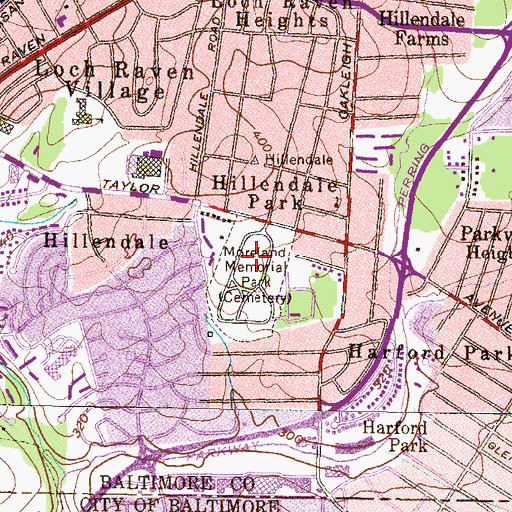 Topographic Map of Moreland Memorial Park, MD